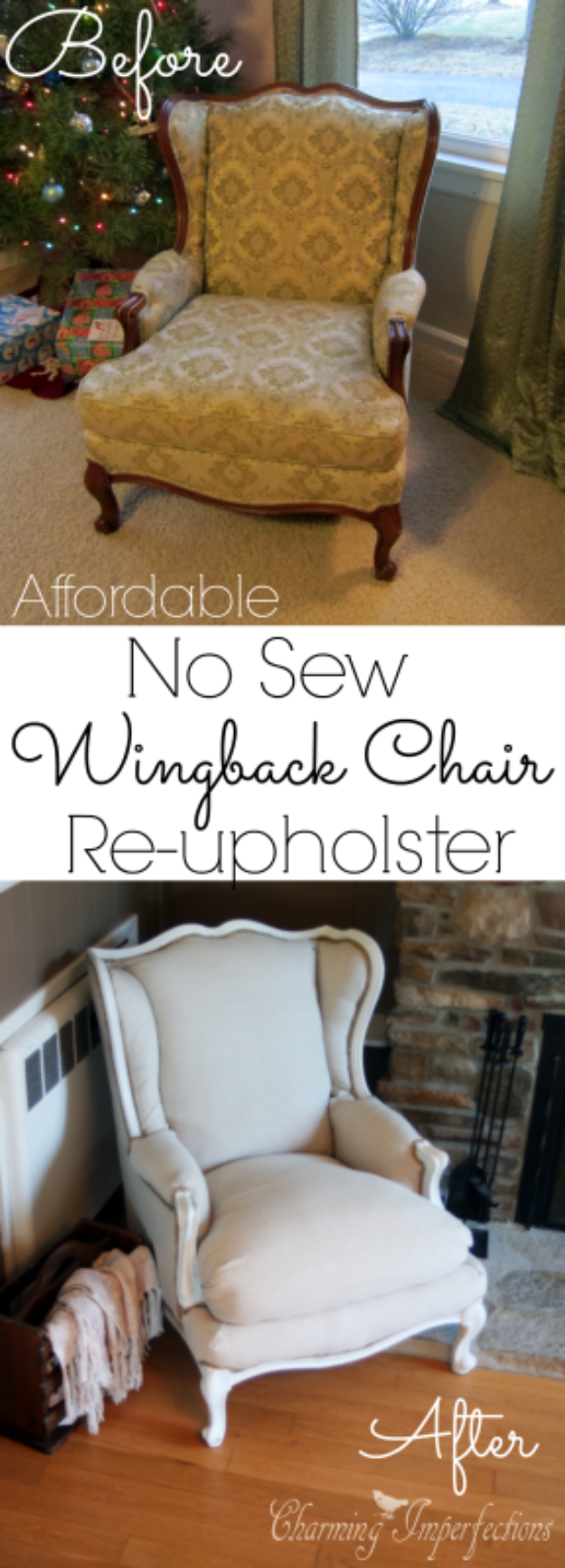 DIY Seating Ideas - Reupholstered No Sew Wingback Chair - Creative Indoor Furniture, Chairs and Easy Seat Projects for Living Room, Bedroom, Dorm and Kids Room. Cheap Projects for those On A Budget. Tutorials for Cushions, No Sew Covers and Benches