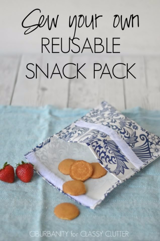 Sewing Crafts To Make and Sell - Reusable Snack Packs - Easy DIY Sewing Ideas To Make and Sell for Your Craft Business. Make Money with these Simple Gift Ideas, Free Patterns, Products from Fabric Scraps, Cute Kids Tutorials #sewing #crafts