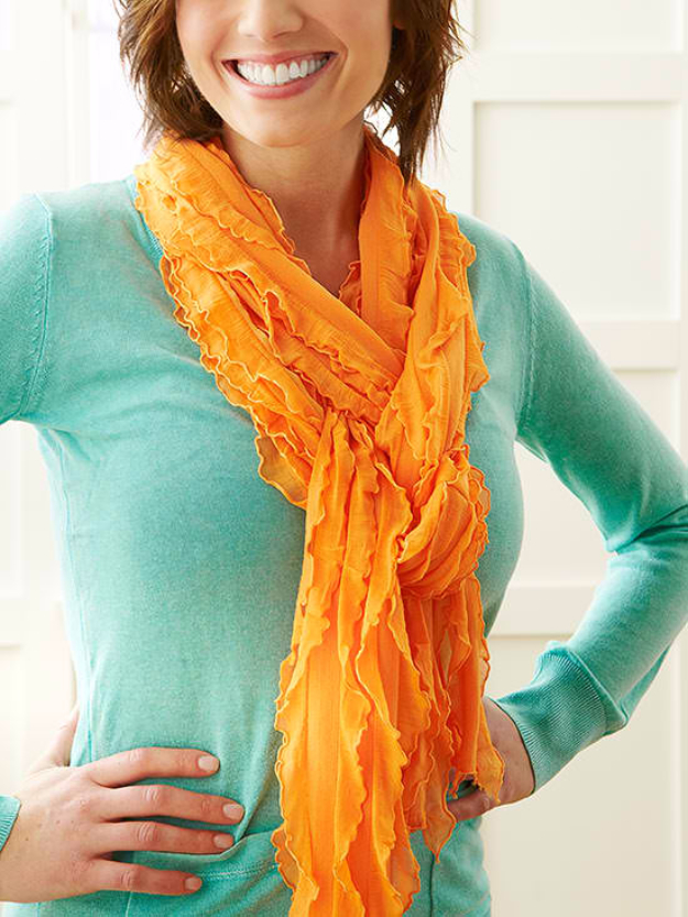 Sewing Crafts To Make and Sell - Ruffled Scarf - Easy DIY Sewing Ideas To Make and Sell for Your Craft Business. Make Money with these Simple Gift Ideas, Free Patterns, Products from Fabric Scraps, Cute Kids Tutorials #sewing #crafts