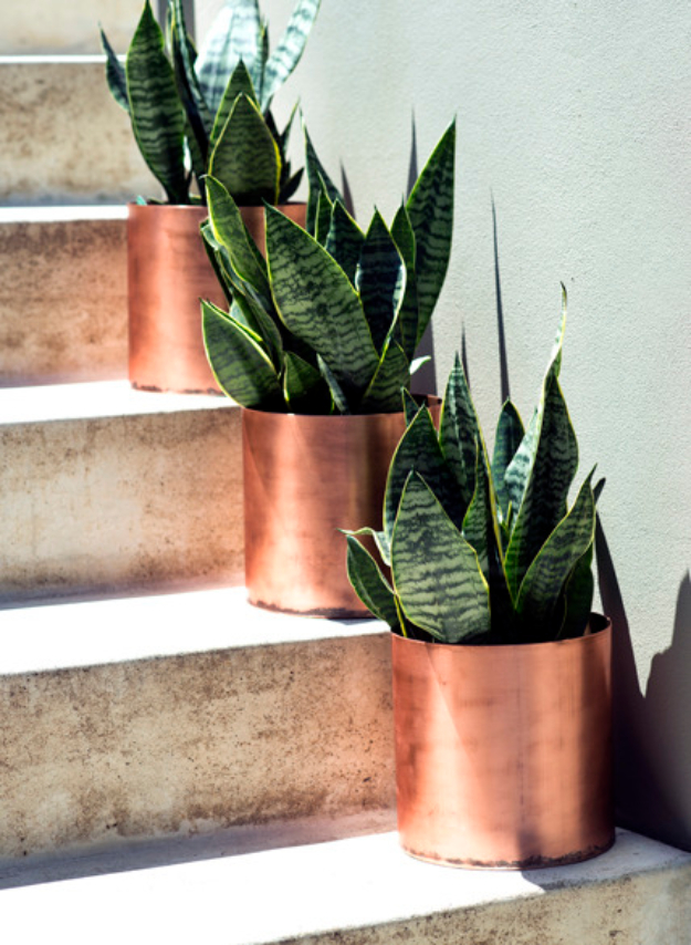 Creative DIY Planters - Rustic Modern Copper Planters - Best Do It Yourself Planters and Crafts You Can Make For Your Plants - Indoor and Outdoor Gardening Ideas - Cool Modern and Rustic Home and Room Decor for Planting With Step by Step Tutorials #gardening #diyplanters #diyhomedecor
