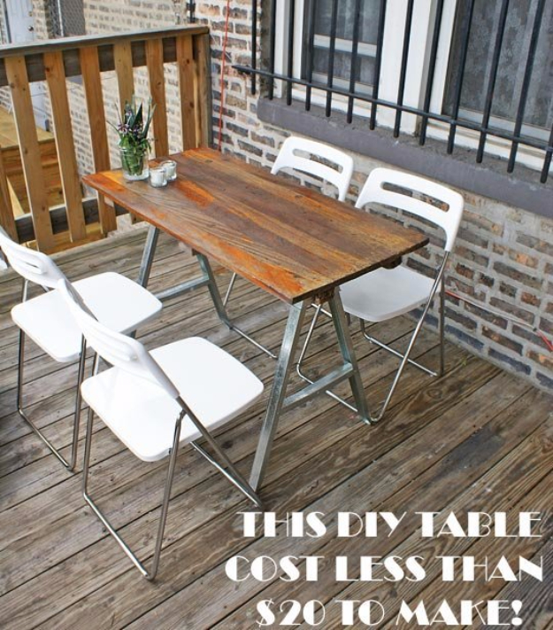 DIY Dining Room Table Projects - Salvaged Sawhorse Dining Table DIY - Creative Do It Yourself Tables and Ideas You Can Make For Your Kitchen or Dining Area. Easy Step by Step Tutorials that Are Perfect For Those On A Budget #diyfurniture #diningroom