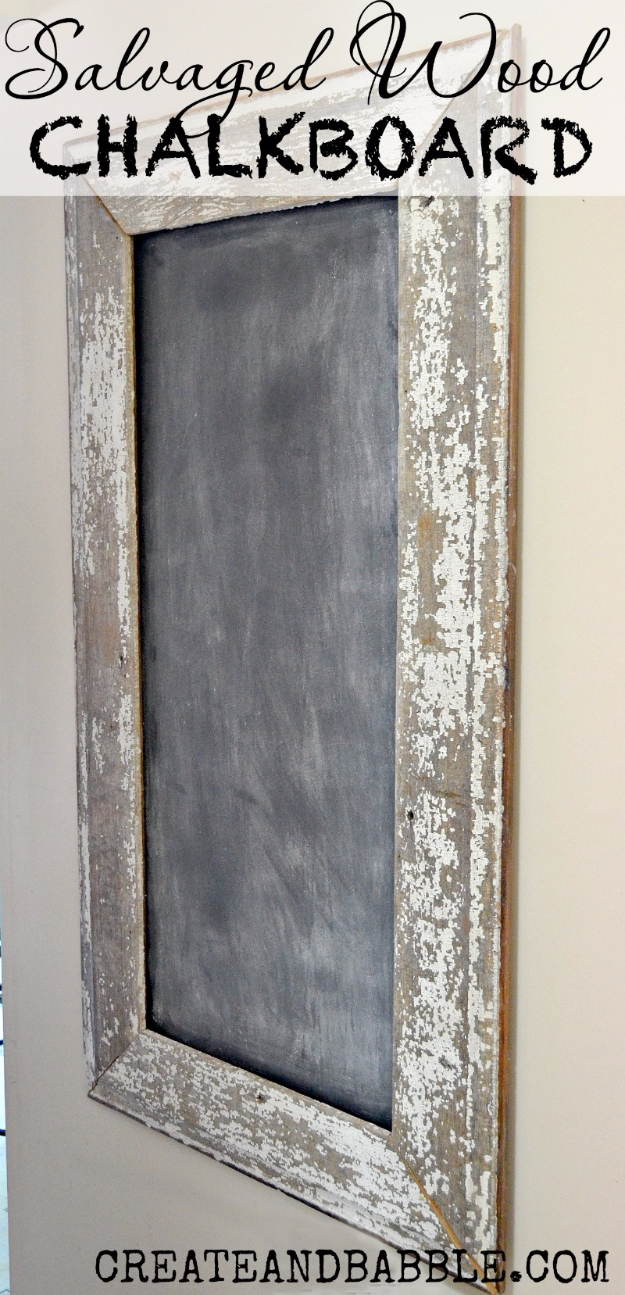 DIY Farmhouse Style Decor Ideas - Salvaged Wood Chalkboard - Creative Rustic Ideas for Cool Furniture, Paint Colors, Farm House Decoration for Living Room, Kitchen and Bedroom #diy #diydecor #farmhouse #countrycrafts