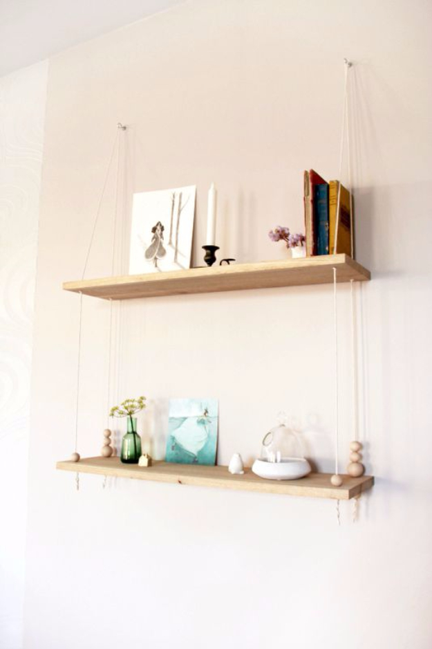 DIY Shelves and Do It Yourself Shelving Ideas - Scandinavian Inspired Swing Shelf - Easy Step by Step Shelf Projects for Bedroom, Bathroom, Closet, Wall, Kitchen and Apartment. Floating Units, Rustic Pallet Looks and Simple Storage Plans #diy #diydecor #homeimprovement #shelves
