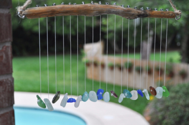 DIY Wind Chimes - Seaglass And Pebbles Wind Chimes - Easy, Creative and Cool Windchimes Made from Wooden Beads, Pipes, Rustic Boho and Repurposed Items, Silverware, Seashells and More. Step by Step Tutorials and Instructions #windchimes #diygifts #diyideas #crafts