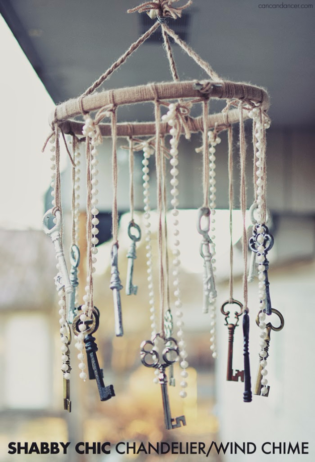 DIY Wind Chimes - Shabby Chic Chandelier Wind Chime - Easy, Creative and Cool Windchimes Made from Wooden Beads, Pipes, Rustic Boho and Repurposed Items, Silverware, Seashells and More. Step by Step Tutorials and Instructions #windchimes #diygifts #diyideas #crafts