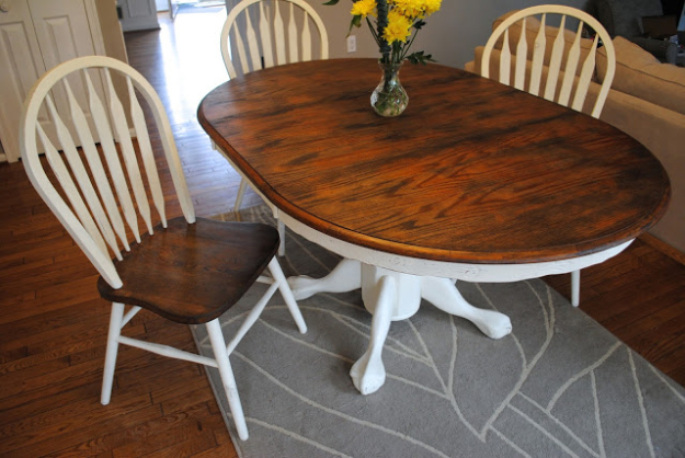 DIY Dining Room Table Projects - Shabby Chic Refinished Dining Set - Creative Do It Yourself Tables and Ideas You Can Make For Your Kitchen or Dining Area. Easy Step by Step Tutorials that Are Perfect For Those On A Budget #diyfurniture #diningroom