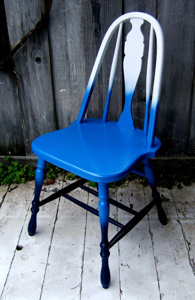 DIY Seating Ideas - Shades Of Blue Ombre Chair - Creative Indoor Furniture, Chairs and Easy Seat Projects for Living Room, Bedroom, Dorm and Kids Room. Cheap Projects for those On A Budget. Tutorials for Cushions, No Sew Covers and Benches