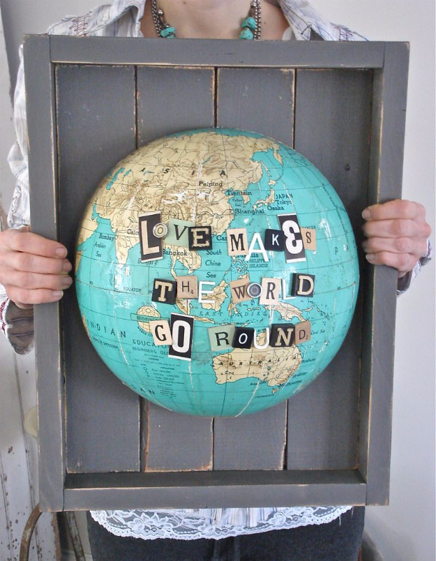 DIY Projects for Teenagers -Shadow Box Globe- Cool Teen Crafts Ideas for Bedroom Decor, Gifts, Clothes and Fun Room Organization. Summer and Awesome School Stuff