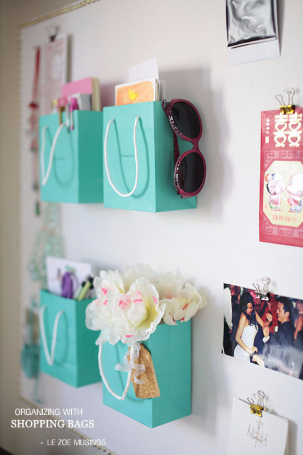DIY Projects for Teenagers - Shopping Bag Wall Organizer - Cool Teen Crafts Ideas for Bedroom Decor, Gifts, Clothes and Fun Room Organization. Summer and Awesome School Stuff