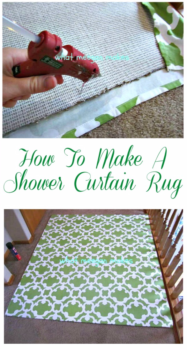 Easy DIY Rugs and Handmade Rug Making Project Ideas - Shower Curtain Rug - Simple Home Decor for Your Floors, Fabric, Area, Painting Ideas, Rag Rugs, No Sew, Dropcloth and Braided Rug Tutorials