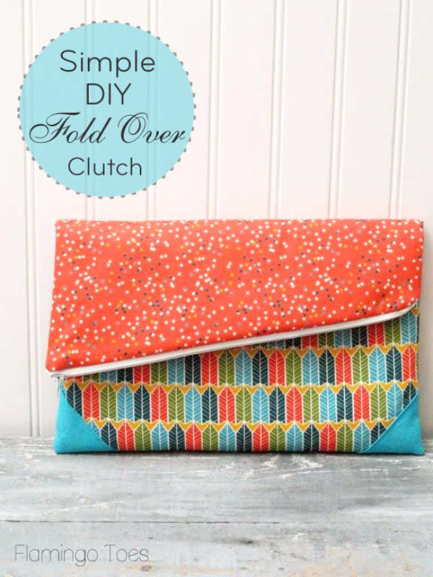 Sewing Crafts To Make and Sell - Simple DIY Fold Over Clutch - Easy DIY Sewing Ideas To Make and Sell for Your Craft Business. Make Money with these Simple Gift Ideas, Free Patterns, Products from Fabric Scraps, Cute Kids Tutorials #sewing #crafts
