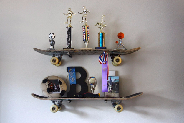 DIY Shelves and Do It Yourself Shelving Ideas - Skateboard Shelves DIY - Easy Step by Step Shelf Projects for Bedroom, Bathroom, Closet, Wall, Kitchen and Apartment. Floating Units, Rustic Pallet Looks and Simple Storage Plans #diy #diydecor #homeimprovement #shelves