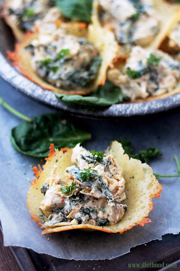 Quick Recipes Ideas for Last Minute Party Foods - Spinach And Artichoke Dip Parmesan Cups - Easy Appetizers, Simple Snacks, Ideas for 4th of July Parties, Cookouts and BBQ With Friends. Quick and Cheap Food Ideas for a Crowd#appetizers #recipes #party
