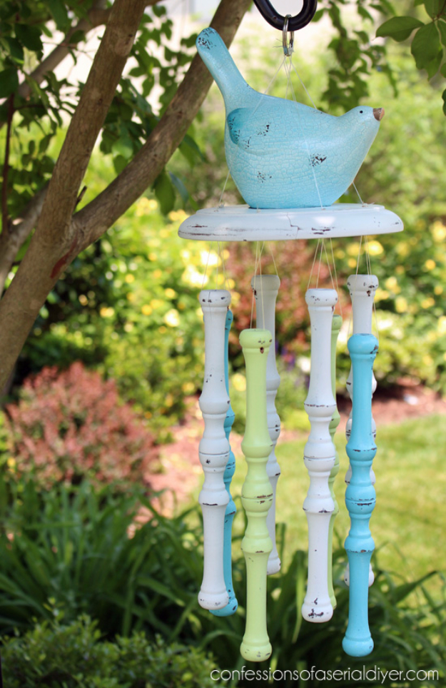 DIY Wind Chimes - Spindle Wind Chimes - Easy, Creative and Cool Windchimes Made from Wooden Beads, Pipes, Rustic Boho and Repurposed Items, Silverware, Seashells and More. Step by Step Tutorials and Instructions http://diyjoy.com/diy-wind-chimes