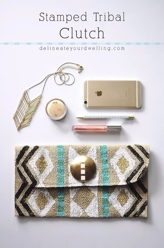 Cheap Crafts To Make and Sell - Stamped Tribal Clutch - Inexpensive Ideas for DIY Craft Projects You Can Make and Sell On Etsy, at Craft Fairs, Online and in Stores. Quick and Cheap DIY Ideas that Adults and Even Teens Can Make on A Budget #diy #crafts #craftstosell #cheapcrafts