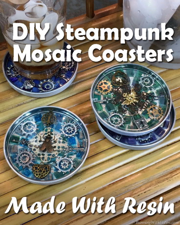 Cheap Crafts To Make and Sell - Steampunk Mosaic Coasters - Inexpensive Ideas for DIY Craft Projects You Can Make and Sell On Etsy, at Craft Fairs, Online and in Stores. Quick and Cheap DIY Ideas that Adults and Even Teens Can Make on A Budget #diy #crafts #craftstosell #cheapcrafts
