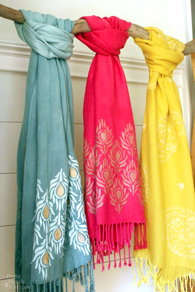 DIY Projects to Make and Sell on Etsy - Stenciled And Dyed Scarves Tutorial - Learn How To Make Money on Etsy With these Awesome, Cool and Easy Crafts and Craft Project Ideas - Cheap and Creative Crafts to Make and Sell for Etsy Shop #etsy #crafts