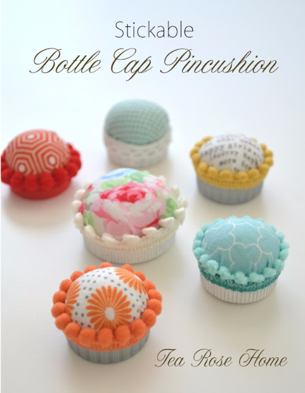 Sewing Crafts To Make and Sell - Stickable Bottle Cap Pincushion - Easy DIY Sewing Ideas To Make and Sell for Your Craft Business. Make Money with these Simple Gift Ideas, Free Patterns, Products from Fabric Scraps, Cute Kids Tutorials #sewing #crafts
