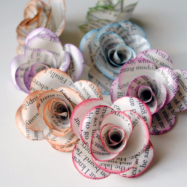 DIY Projects for Teenagers - Storybook Paper Roses - Cool Teen Crafts Ideas for Bedroom Decor, Gifts, Clothes and Fun Room Organization. Summer and Awesome School Stuff