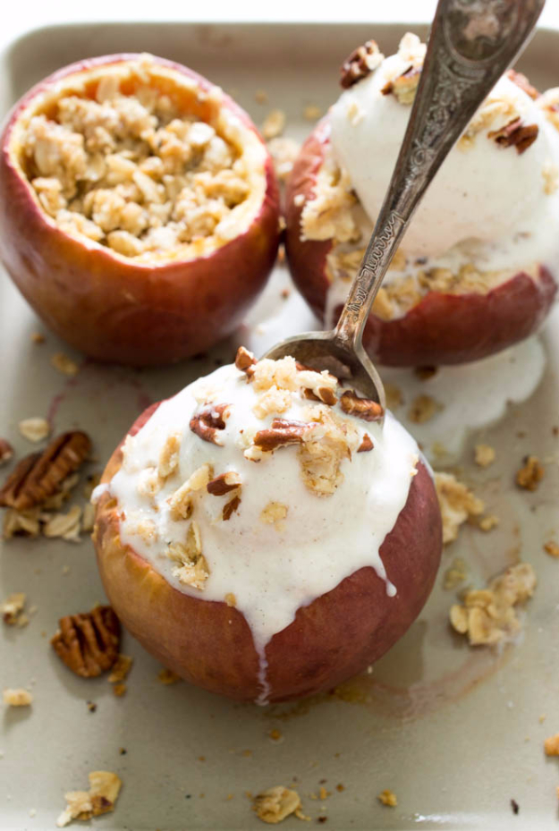 Last Minute Dessert Recipes and Ideas - Stuffed Baked Apple Crisp - Healthy and Easy Ideas for No Bake Recipe Foods, Chocolate, Peanut Butter. Best Simple Ideas for Summer, For A Crowd and for Parties
