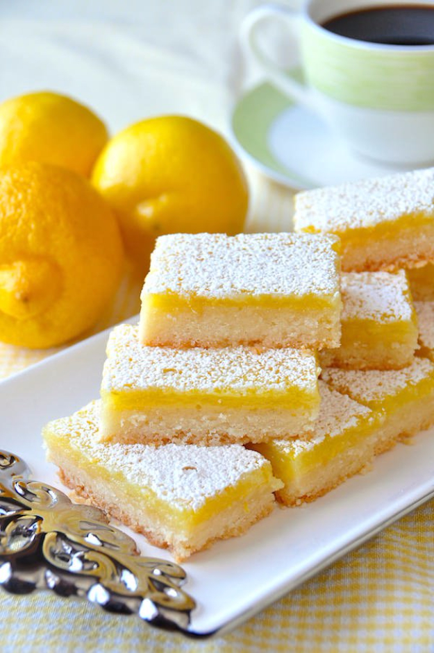 Last Minute Dessert Recipes and Ideas - Super Easy Lemon Bars - Healthy and Easy Ideas for No Bake Recipe Foods, Chocolate, Peanut Butter. Best Simple Ideas for Summer, For A Crowd and for Parties