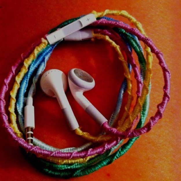 DIY Projects for Teenagers - Tangle Free Headphones With Embroidery Floss - Cool Teen Crafts Ideas for Bedroom Decor, Gifts, Clothes and Fun Room Organization. Summer and Awesome School Stuff