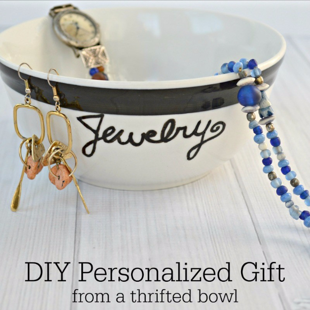DIY Projects to Make and Sell on Etsy - Thrifted Bowl Personalized Gift - Learn How To Make Money on Etsy With these Awesome, Cool and Easy Crafts and Craft Project Ideas - Cheap and Creative Crafts to Make and Sell for Etsy Shop #etsy #crafts
