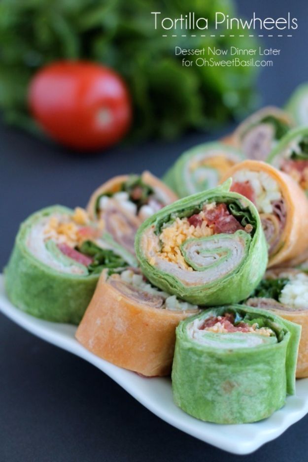 Last Minute Party Foods - Tortilla Pinwheels - Easy Appetizers, Simple Snacks, Ideas for 4th of July Parties, Cookouts and BBQ With Friends. Quick and Cheap Food Ideas for a Crowd#appetizers #recipes #party