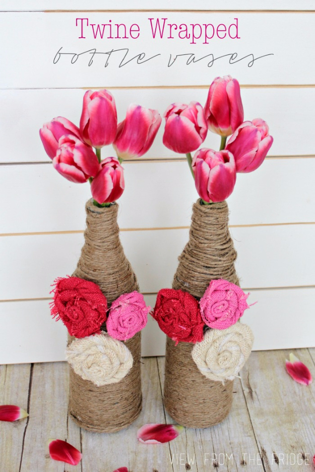 DIY Projects for Teenagers - Twine Wrapped Bottle Vases - Cool Teen Crafts Ideas for Bedroom Decor, Gifts, Clothes and Fun Room Organization. Summer and Awesome School Stuff