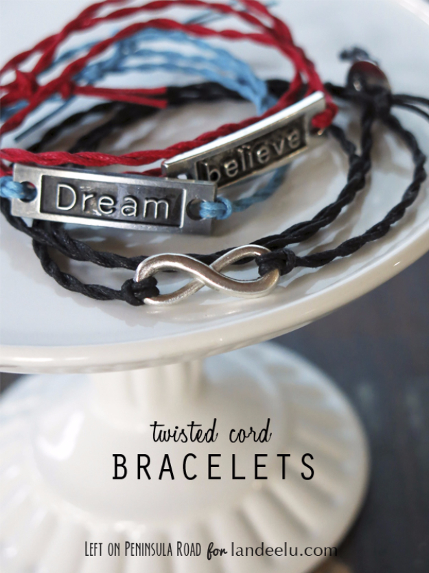 DIY Projects for Teenagers - Twisted Cord Wrap Bracelets - Cool Teen Crafts Ideas for Bedroom Decor, Gifts, Clothes and Fun Room Organization. Summer and Awesome School Stuff http://diyjoy.com/cool-diy-projects-for-teenagers