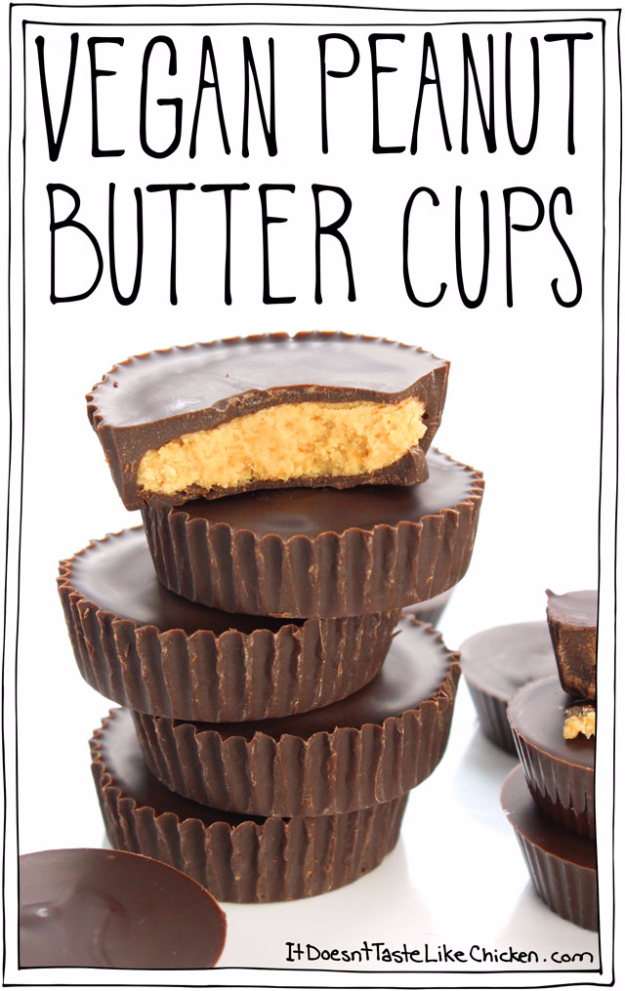Last Minute Dessert Recipes and Ideas - Vegan Peanut Butter Cups - Healthy and Easy Ideas for No Bake Recipe Foods, Chocolate, Peanut Butter. Best Simple Ideas for Summer, For A Crowd and for Parties