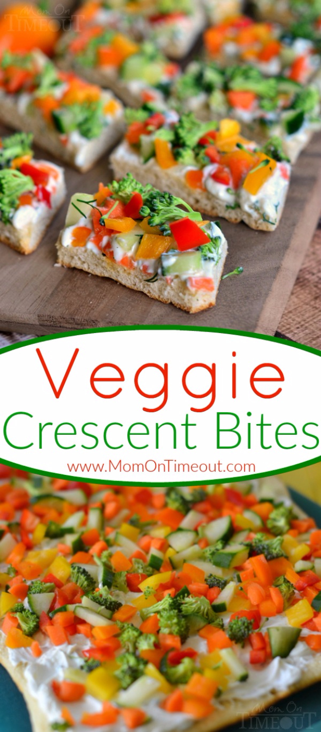 Last Minute Party Foods With Step by Step Recipes - Veggie Crescent Bites - Easy Appetizers, Simple Snacks, Ideas for 4th of July Parties, Cookouts and BBQ With Friends. Quick and Cheap Food Ideas for a Crowd#appetizers #recipes #party
