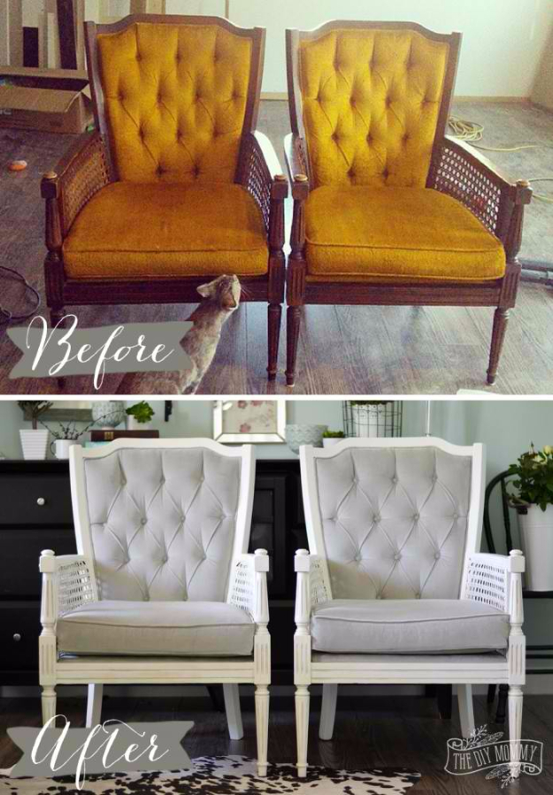 DIY Seating Ideas - Vintage Cane Chair Pair Makeover in Grey Velvet - Creative Indoor Furniture, Chairs and Easy Seat Projects for Living Room, Bedroom, Dorm and Kids Room. Cheap Projects for those On A Budget. Tutorials for Cushions, No Sew Covers and Benches