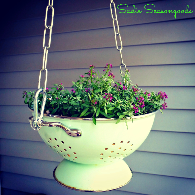 Creative DIY Planters - Vintage Colander Planter - Best Do It Yourself Planters and Crafts You Can Make For Your Plants - Indoor and Outdoor Gardening Ideas - Cool Modern and Rustic Home and Room Decor for Planting With Step by Step Tutorials #gardening #diyplanters #diyhomedecor