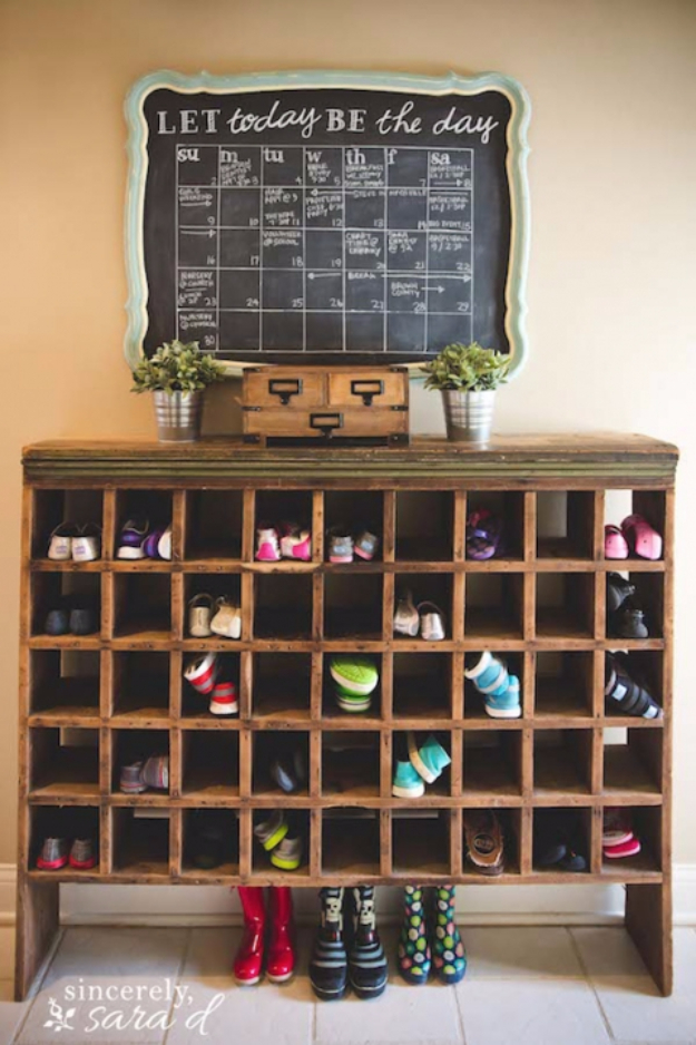 DIY Ideas for Your Entry - Vintage Mail Sorter Shoe Cubby - Cool and Creative Home Decor or Entryway and Hall. Modern, Rustic and Classic Decor on a Budget. Impress House Guests and Fall in Love With These DIY Furniture and Wall Art Ideas http://diyjoy.com/diy-home-decor-entry