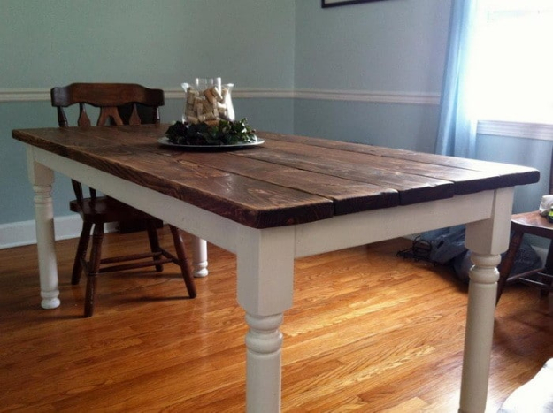 DIY Dining Room Table Projects - Vintage Style Dining Room Table - Creative Do It Yourself Tables and Ideas You Can Make For Your Kitchen or Dining Area. Easy Step by Step Tutorials that Are Perfect For Those On A Budget #diyfurniture #diningroom