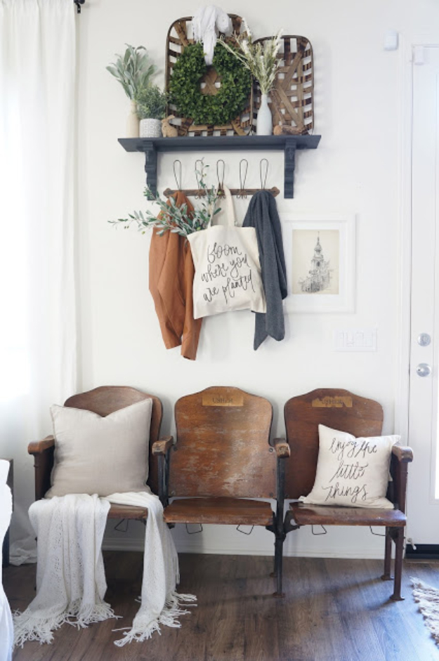 DIY Ideas for Your Entry - Vintage Theater Seat Entryway - Cool and Creative Home Decor or Entryway and Hall. Modern, Rustic and Classic Decor on a Budget. Impress House Guests and Fall in Love With These DIY Furniture and Wall Art Ideas #diydecor #diyhomedecor