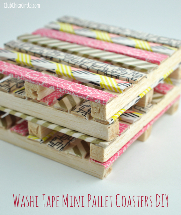 DIY Projects for Teenagers - Washi Tape Mini Wood Pallet DIY Coasters - Cool Teen Crafts Ideas for Bedroom Decor, Gifts, Clothes and Fun Room Organization. Summer and Awesome School Stuff