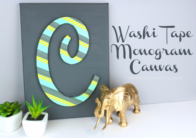 DIY Projects for Teenagers - Washi Tape Monogram Canvas - Cool Teen Crafts Ideas for Bedroom Decor, Gifts, Clothes and Fun Room Organization. Summer and Awesome School Stuff