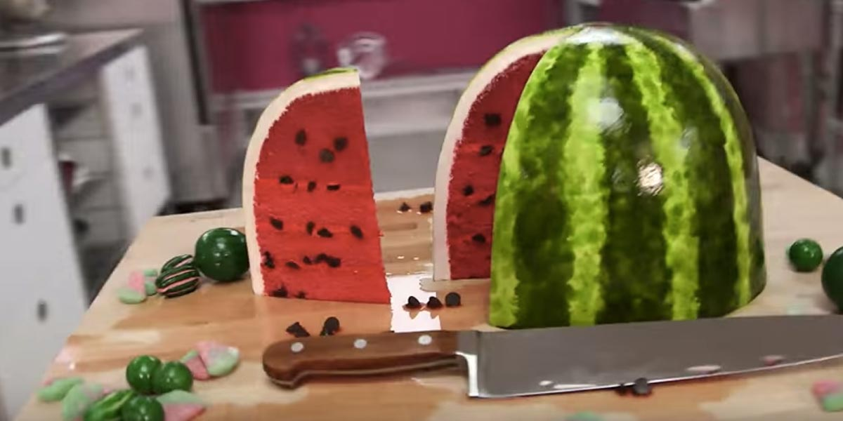 How To Make A Watermelon Out Of Pink Velvet Cake With