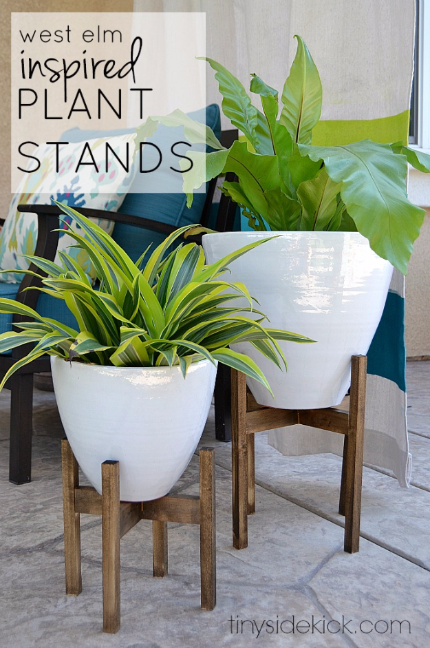 Creative DIY Planters - West Elm Inspired Wooden Plant Stands - Best Do It Yourself Planters and Crafts You Can Make For Your Plants - Indoor and Outdoor Gardening Ideas - Cool Modern and Rustic Home and Room Decor for Planting With Step by Step Tutorials #gardening #diyplanters #diyhomedecor