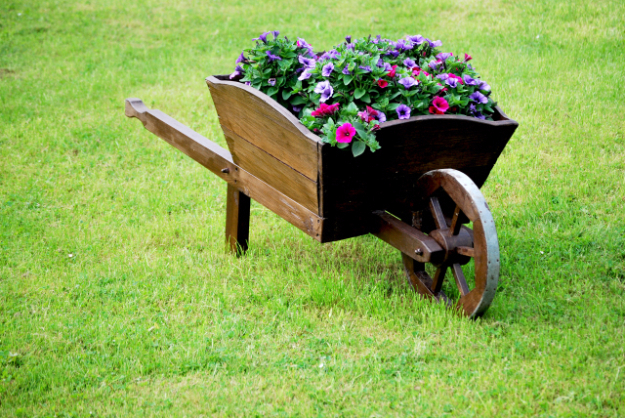 Creative DIY Planters - Wheelbarrow Planter - Best Do It Yourself Planters and Crafts You Can Make For Your Plants - Indoor and Outdoor Gardening Ideas - Cool Modern and Rustic Home and Room Decor for Planting With Step by Step Tutorials #gardening #diyplanters #diyhomedecor