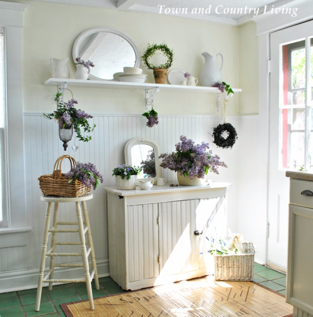 DIY Farmhouse Style Decor Ideas - White Ironstone Display - Creative Rustic Ideas for Cool Furniture, Paint Colors, Farm House Decoration for Living Room, Kitchen and Bedroom #diy #diydecor #farmhouse #countrycrafts