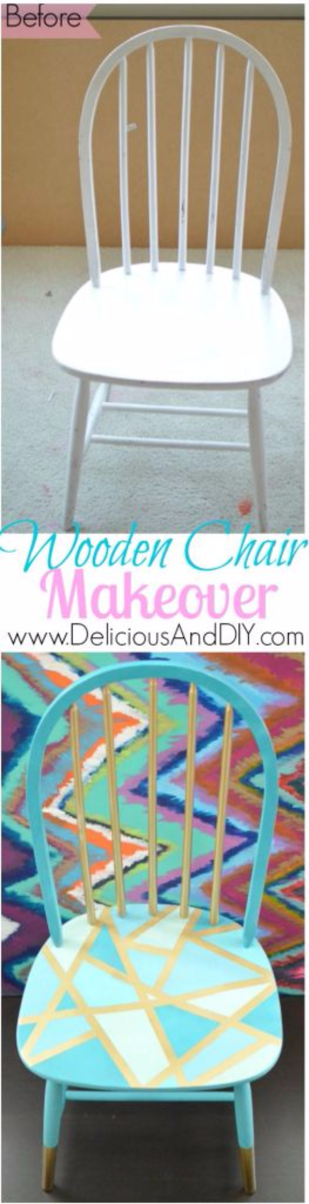 DIY Seating Ideas - Wooden Chair Makeover - Creative Indoor Furniture, Chairs and Easy Seat Projects for Living Room, Bedroom, Dorm and Kids Room. Cheap Projects for those On A Budget. Tutorials for Cushions, No Sew Covers and Benches