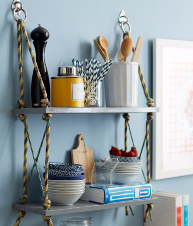 DIY Shelves and Do It Yourself Shelving Ideas - Wrap Up Rope Shelves - Easy Step by Step Shelf Projects for Bedroom, Bathroom, Closet, Wall, Kitchen and Apartment. Floating Units, Rustic Pallet Looks and Simple Storage Plans #diy #diydecor #homeimprovement #shelves