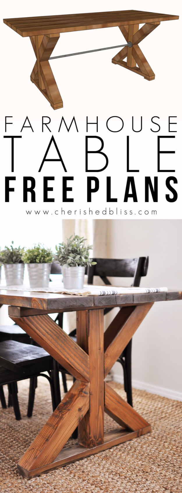 DIY Dining Room Table Projects - X Brace Farmhouse Table - Creative Do It Yourself Tables and Ideas You Can Make For Your Kitchen or Dining Area. Easy Step by Step Tutorials that Are Perfect For Those On A Budget #diyfurniture #diningroom