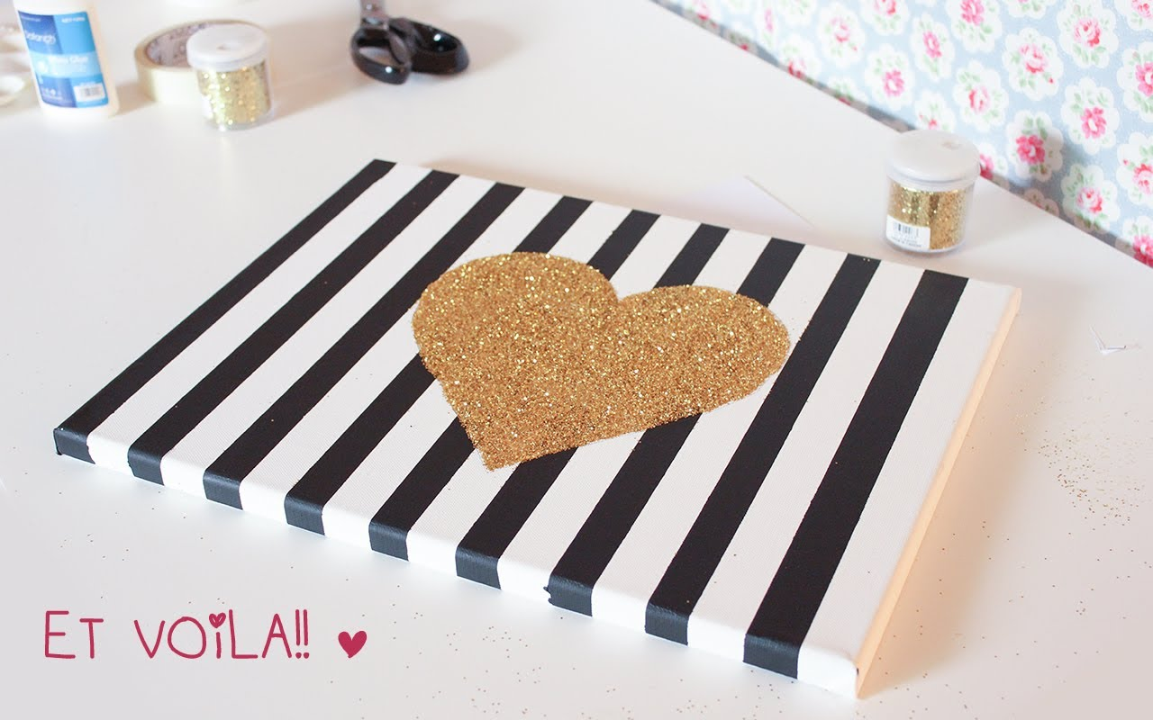 DIY Wall Art Ideas for the Bedroom - Chic Striped Canvas With a Sparkling Glitter Heart Is A Great Statement For The Wall! - Rustic Decorating Projects For Bedroom, Brilliant Wall Art Projects, Creative Wall Art, Do It Yourself Crafts, Easy Wall Art, Bedroom Decor on a Budget, Bedroom - Paintings, Canvas Art Ideas, Wall Hangings