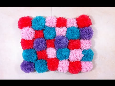 Easy DIY Rugs and Handmade Rug Making Project Ideas - Cozy, Soft & Plush Pom Pom Rug is so Easy to Make! - Simple Home Decor for Your Floors, Fabric, Area, Painting Ideas, Rag Rugs, No Sew, Dropcloth and Braided Rug Tutorials