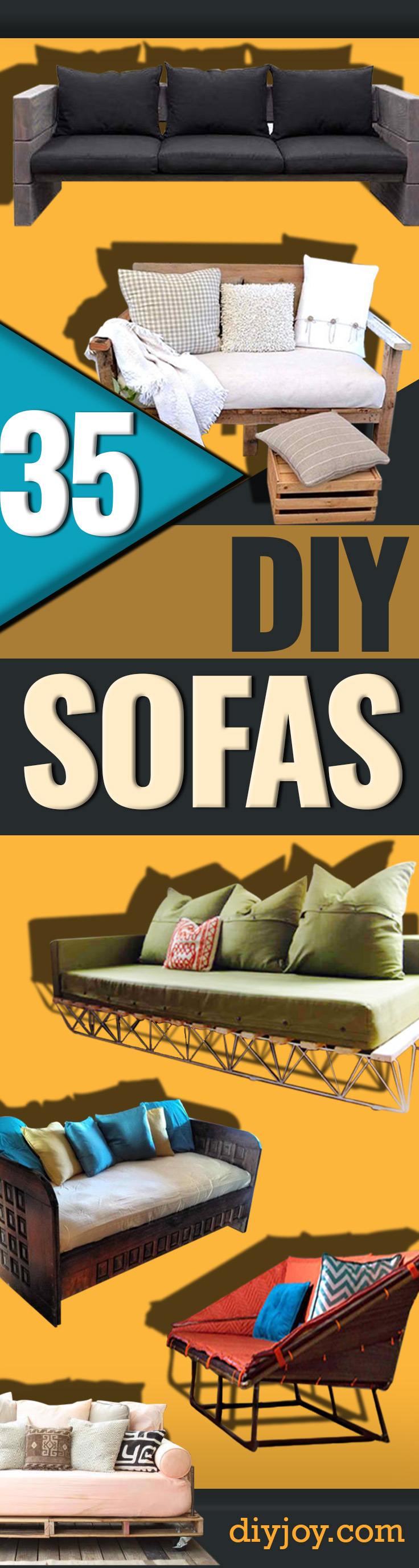 diy sofa - dyi couches - easy DIY furniture - cheap home decor ideas - Make Your Own Sofa or Couch on A Budget - Makeover Your Current Couch With Slipcovers- tutorial and step by step instructions