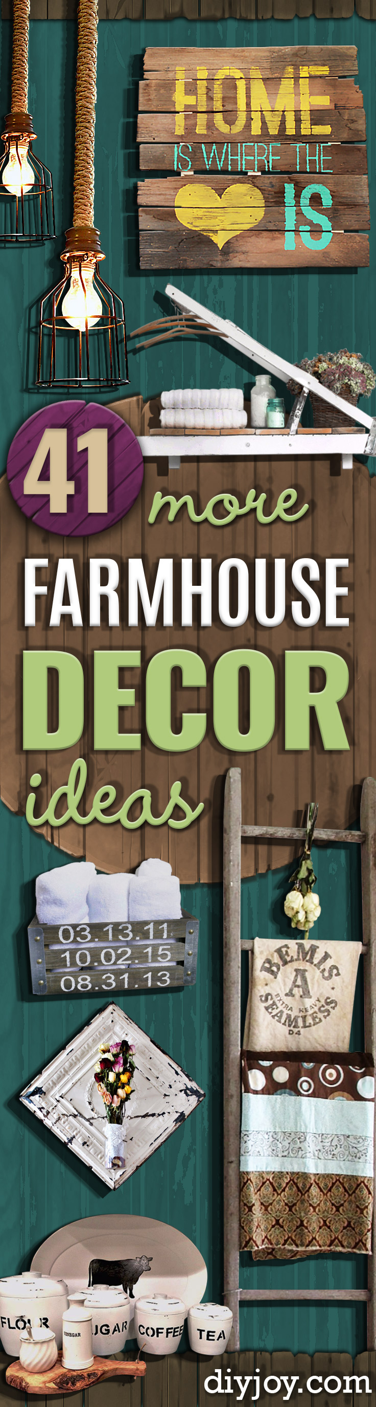 DIY Farmhouse Style Decor Ideas - Creative Rustic Ideas for Cool Furniture, Paint Colors, Farm House Decoration for Living Room, Kitchen and Bedroom #farmhouse #diydecor #diyideas #diy